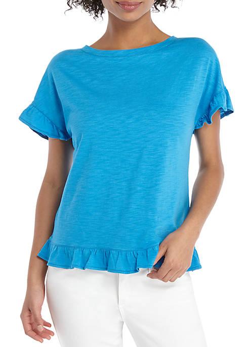 THE LIMITED Petite Short Sleeve Ruffle Hem Top