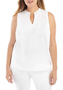 THE LIMITED Plus Size Sleeveless Split Neck Top