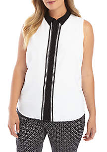 THE LIMITED Plus Size Sleeveless Collared Lace Trim Placket Top