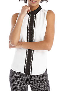 THE LIMITED Petite Sleeveless Collared Lace Trim Placket Top