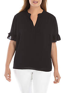 848ae69aa5910a ... THE LIMITED Plus Size Short Sleeve Pleated V Neck Blouse
