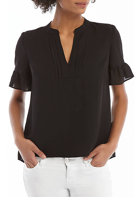 THE LIMITED Petite Short Sleeve Pleated V Neck