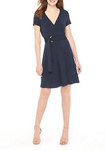 Short Sleeve Surplice Dress with Belt