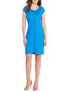 Short Sleeve Lightweight Ponte Dress with Zip
