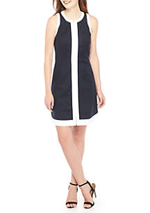 Petite Zip Front Fit-and-Flare Dress