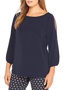 Plus Size Three-Quarter Split Sleeve Blouse