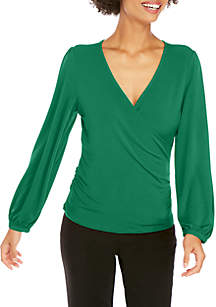 Long Sleeve Knit Wrap Top