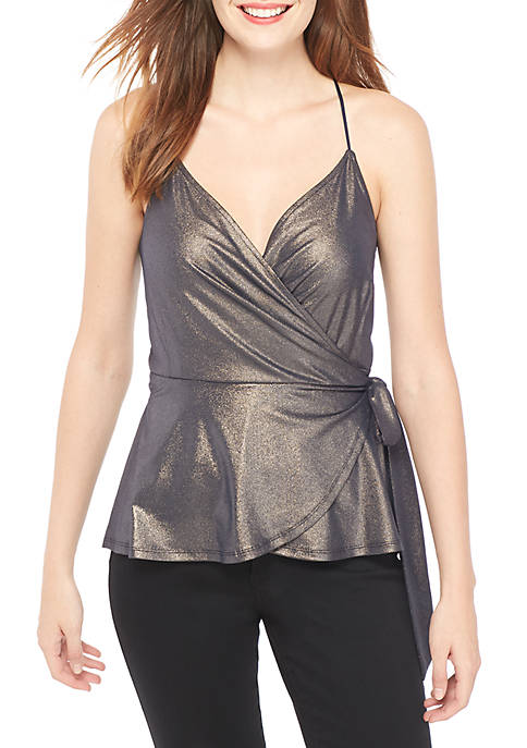 THE LIMITED Sleeveless Shimmer Wrap Top