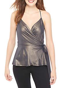 Sleeveless Shimmer Wrap Top