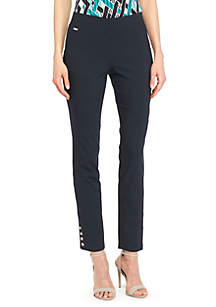 Signature Pull On Ankle Pant with Metal Snaps in Exact Stretch