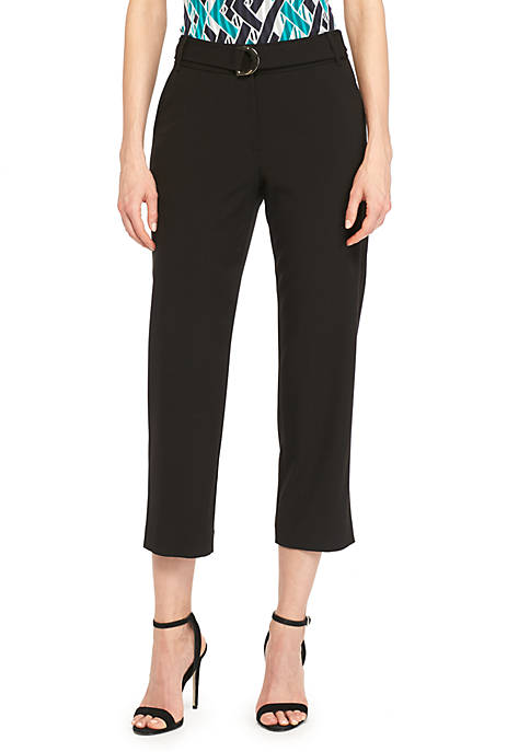THE LIMITED Signature Crop Pants with Fabric Belt