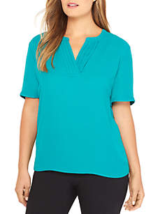 Plus Size Short Sleeve Pleated V-Neck Top