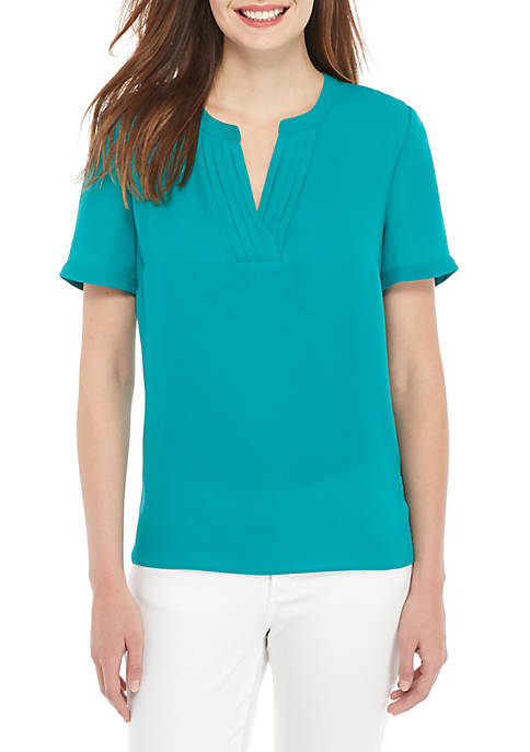 Petite Short Sleeve Pleated V-Neck Top