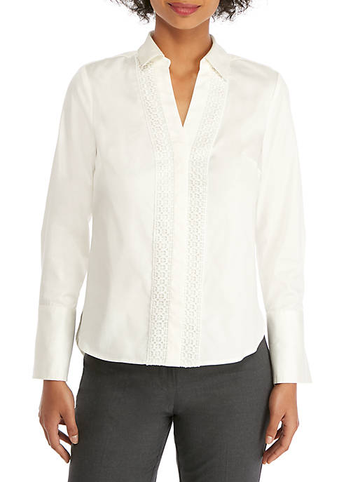 Lace Trim Button-Up Shirt