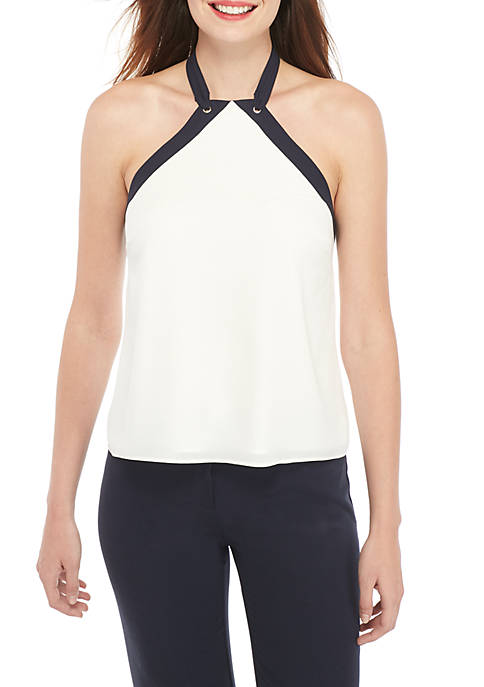 THE LIMITED Fluid Crepe Halter Top Tank