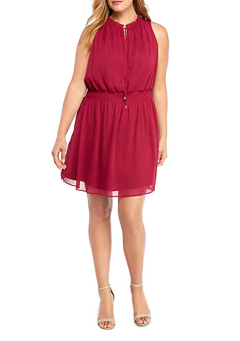 Plus Size Ruffle Tie Neck Cinched Waist Dress