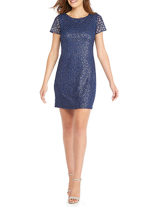 THE LIMITED Short Sleeve Embroidered Mesh Dress