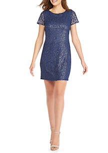 Short Sleeve Embroidered Mesh Dress