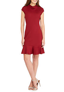 Cap Sleeve Mock Neck Ponte Dress