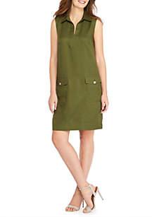 Sleeveless Twill Pocket Dress