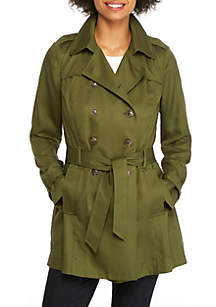 Petite Tencel Twill Trench Coat