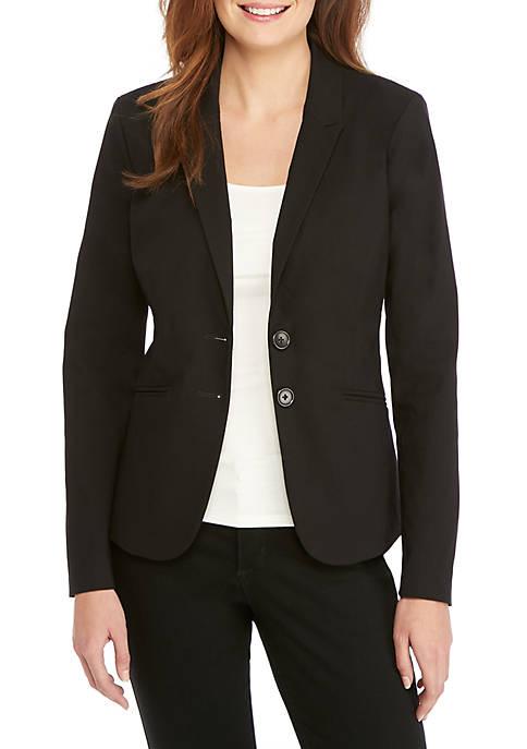 Petite Two Button Blazer in Exact Stretch