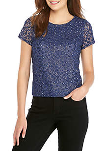 Petite Short Sleeve Embroidered Mesh Top