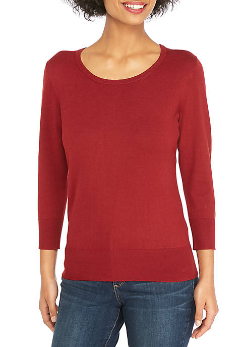 THE LIMITED Three-Quarter Sleeve Scoop Neck Sweater