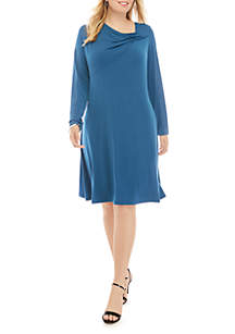 THE LIMITED Plus Size Long Sleeve Gathered Neck Dress