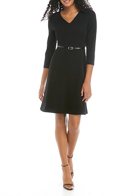 Womens Belted 3/4 Sleeve Dress