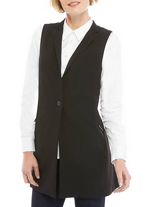 Sleeveless Long Vest in Modern Stretch