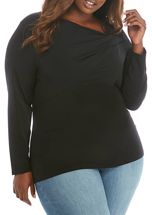 THE LIMITED Plus Size Gathered Drape Neck Top