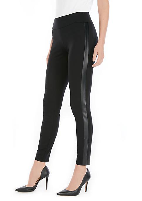 Womens Side Panel Vegan Leather Pants