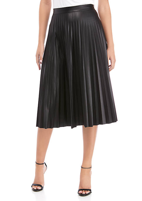 Womens Knife Pleat Faux Leather Skirt