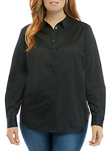 THE LIMITED Plus Size Woven Button Down Shirt