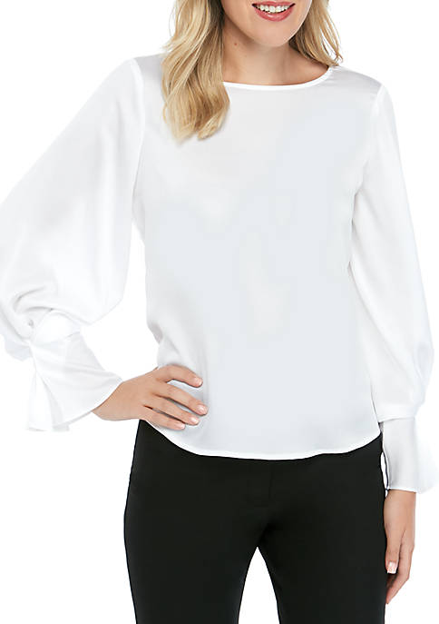 THE LIMITED Petite Fluid Sleeve Boat Neck Top