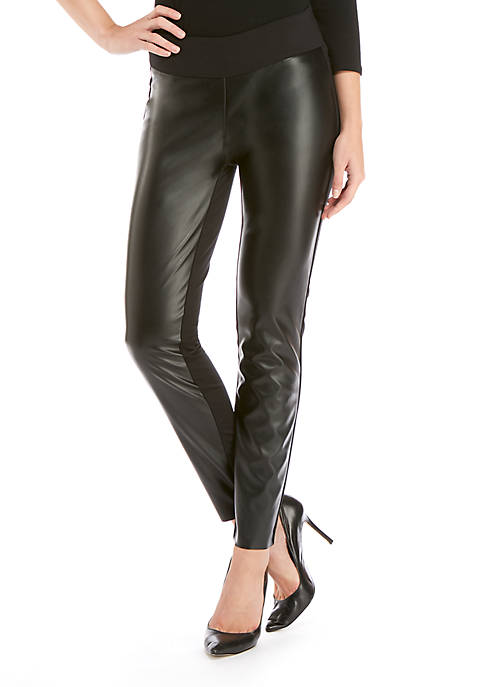Signature Pleather Front Pull-On Legging In Ponte