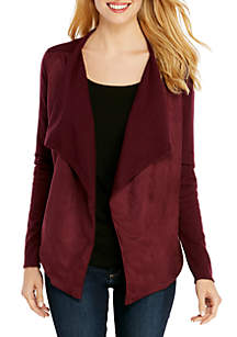 Suede Front Waterfall Cardigan