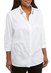 Plus Sleeve Broach Button-Up Shirt