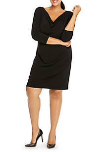 Plus Size Three-Quarter Sleeve Cowl Neck Dress