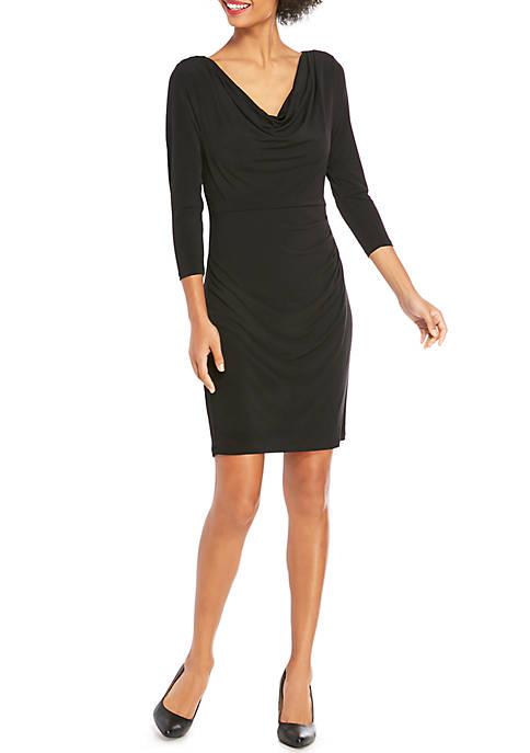 Three-Quarter Sleeve Cowl Neck Dress
