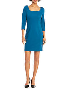 Petite 3/4 Sleeve Ponte Dress with Zipper