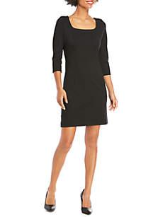 3/4 Sleeve Ponte Dress with Zipper