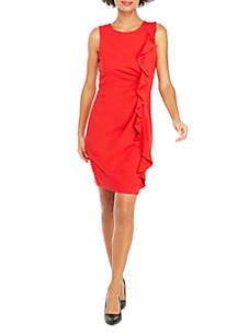 Sleeveless Ruffle Front Ponte Dress