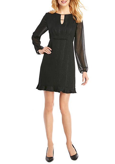 Ruffle Hem Dress with Bar Detail