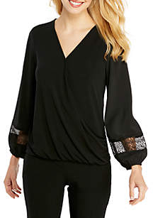 Petite Surplice Top with Lace Sleeves