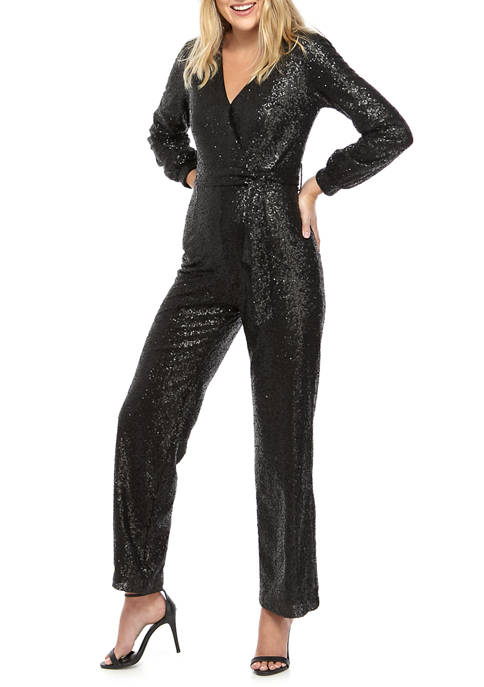 Womens Long Sleeve Sequin Jumpsuit