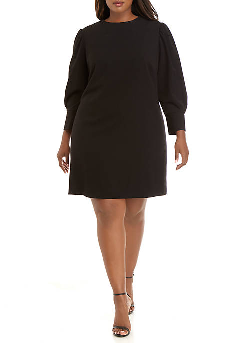 Plus Size Modern Stretch Pleated Sleeve Dress