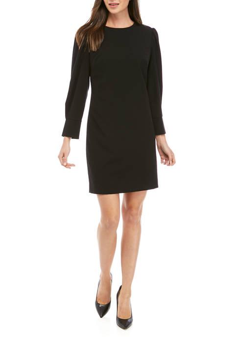 Womens Modern Stretch Pleated Sleeve Dress