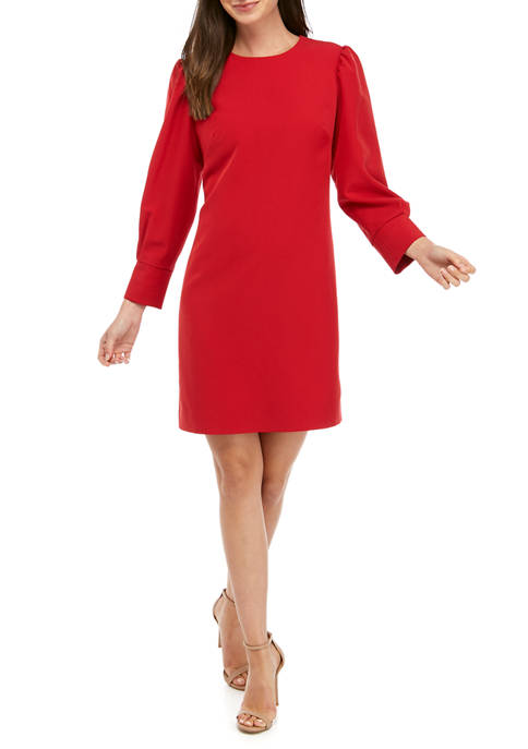 Womens Modern Stretch Pleated Sleeve Dress